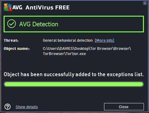 Watch out what you include in the Exception list when using security software like AVG