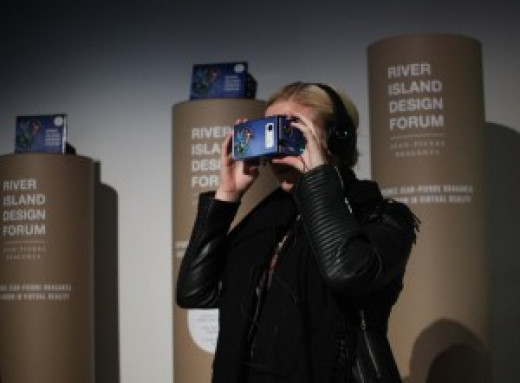 Google Cardboard virtual reality headset at the River Island fashion show