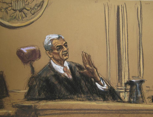 Sketch of Judge Richard Berman at Tom Brady's Appeal