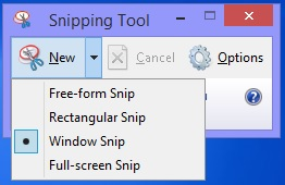 The 4 options Snipping Tool offers you