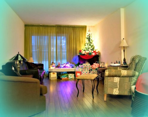 Laminate floors reflect lights and are especially beautiful during Christmas.