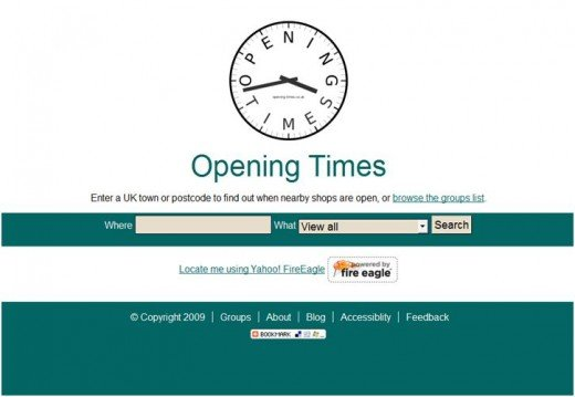 Screenshot of the opening-times.co.uk homepage on 17th June 2009.