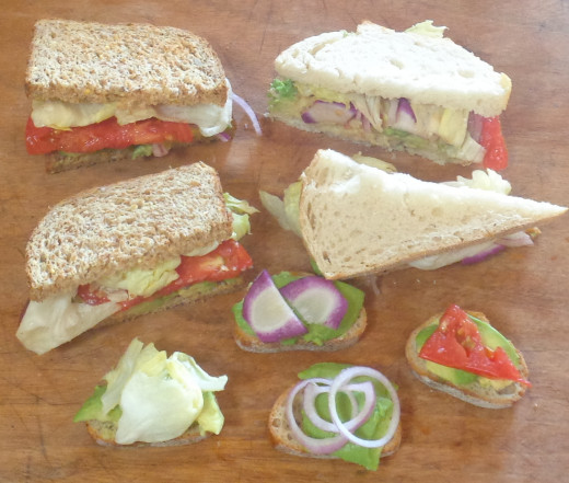 A variety of avocado sandwiches