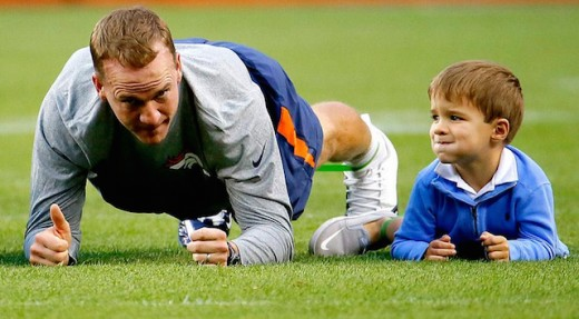At least Manning has a good warm up partner!