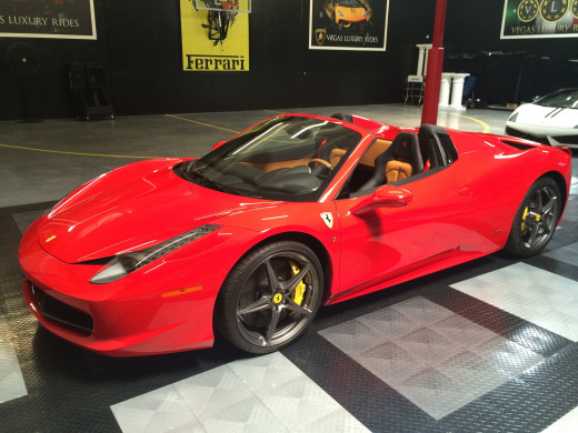 """Headed to Vegas? Drive it now: 2015 Ferrari 458 Spider Red """"Power concedes nothing without demand""""- It Girl of Manhattan"""