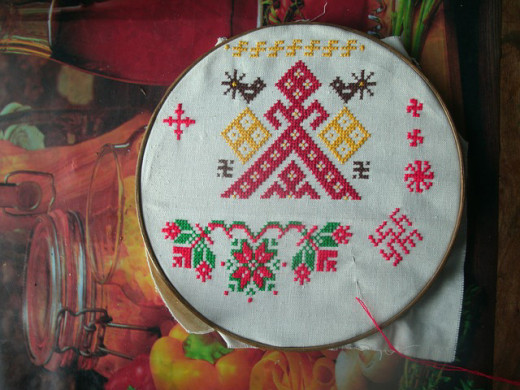 Russian style of embroidery.