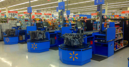 Notice there are no cashiers in the picture?  Typical day at Walmart.
