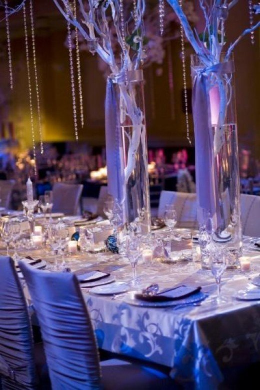 WINTER WONDERLAND WEDDING RECEPTION ROOM Love crystal tree centerpieces