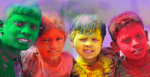 Children celebrating Holi,the festival of Colors in India