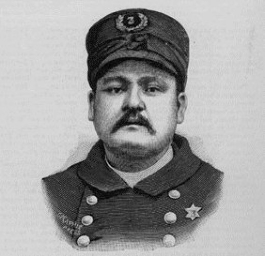 Engraving of police officer Mathias J. Degan, who was killed by the bomb blast.
