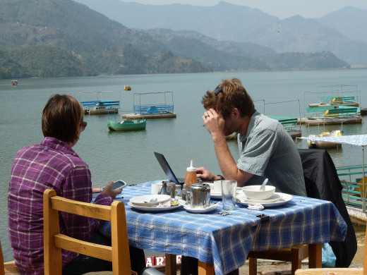 There are hundreds of restaurants and cafes like this on the Phewa Lake side in Pokhara