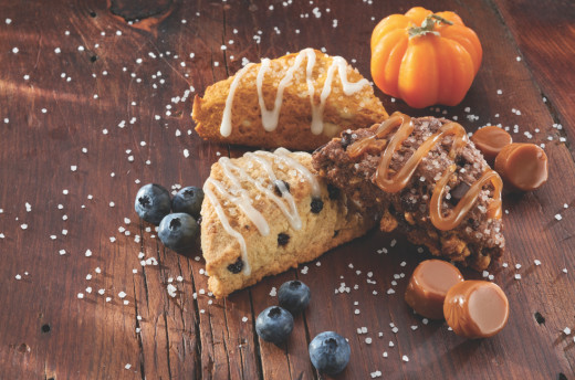 Pumpkin, Salted Caramel, and Blueberry Scones (available at Sam's Club)