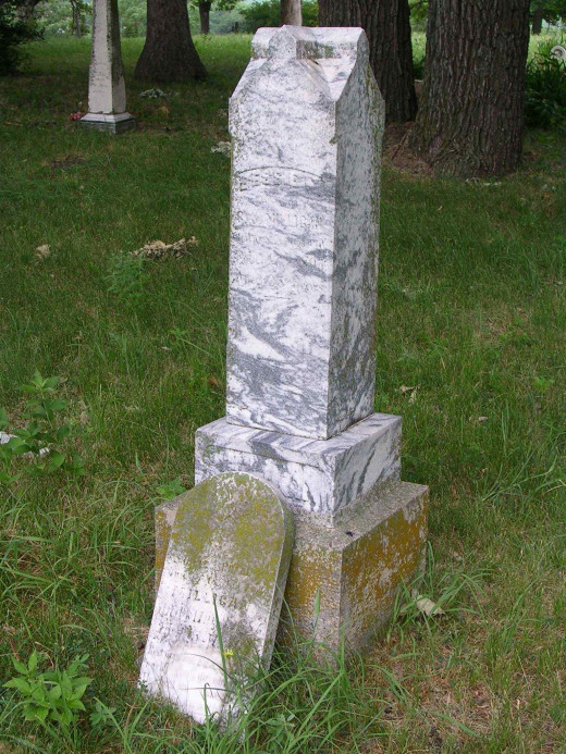 (Back Stone) Headstone of Bessie Milligan, Valley View Cemetery