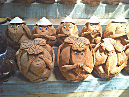 Cute coconut carvings of the 3 mystic monkeys in Hanoi, Vietnam. The apes which symbolizes the phrase 'see no evil, hear no evil, speak no evil' are a common sight in many Asian countries.