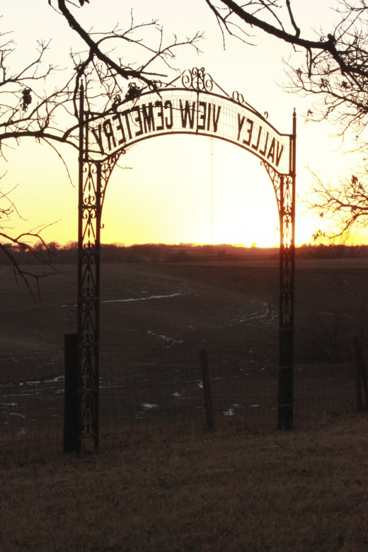 Winter sunset, Valley View Cemetery.