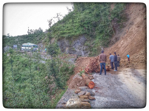 Land Slide on the Way to Darchula Nepal