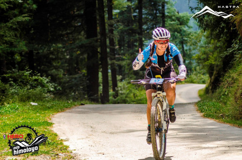 """Sonia Lopes in action at the Asia's premiere MTB event - Hero MTB Himalaya. """"Riding the mile with a smile"""""""