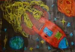 Art Lessons For Kids - Outer Space Crayon Resist