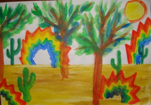 The jagged rainbows grew in the hot desert.
