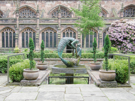 The beautiful Cloister Garden at Chester Cathedral