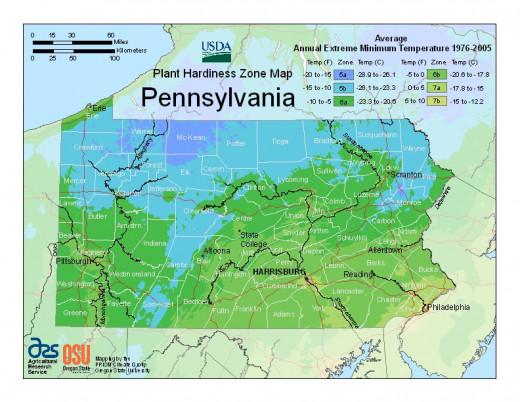"""Gardening map for Pennsylvania, where our garden railway """"resides."""""""