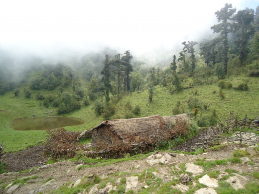 Thatched huts of shepherds at Ghuin