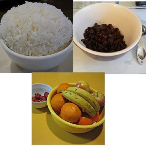 Steamed rice with Raisins and Fruit
