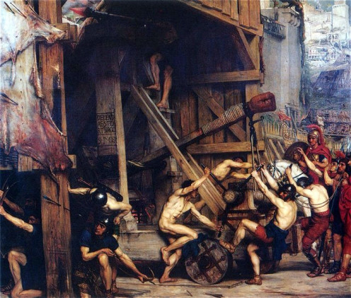 Catapulta, Edward Poynter (1868)  This is similar to the catapults used by the Romans.