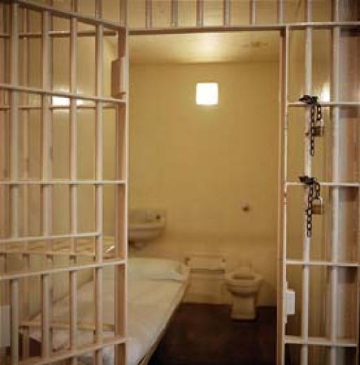 The grim and sterile death cell at Huntsville prison, Texas.