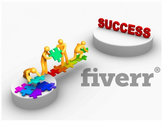 Success with Fiverr colorful poster with people putting the jigsaw together