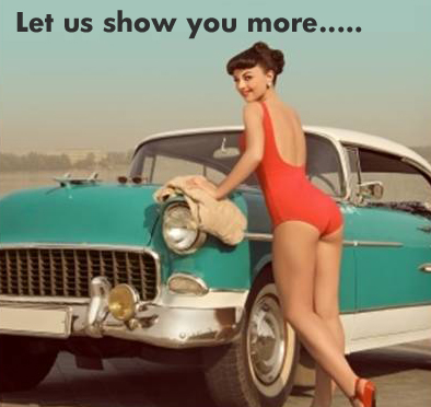"beautiful photo of brunette girl in a one piece red swimsuit in front of classic car with the words above her stating ""let us show you more..."""