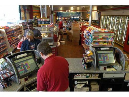 retail store camera overlooking cash register