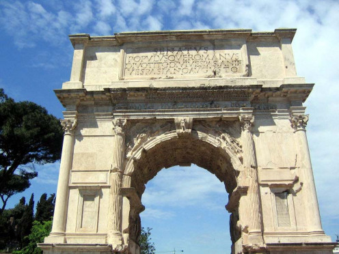The arch commemorates Titus' capture and sack of Jerusalem in AD 70.