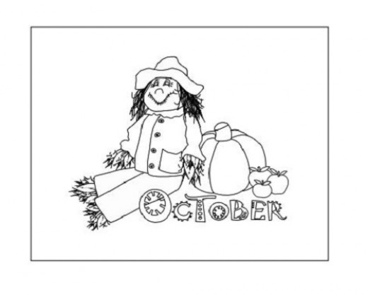 October Coloring Page, Scarecrow and Pumpkin