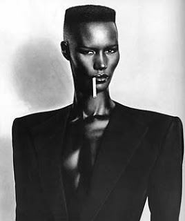 Before the hi-top fade came fashionable among rappers, Grace Jones sported this style on hair 1980 album Warm Leatherette.
