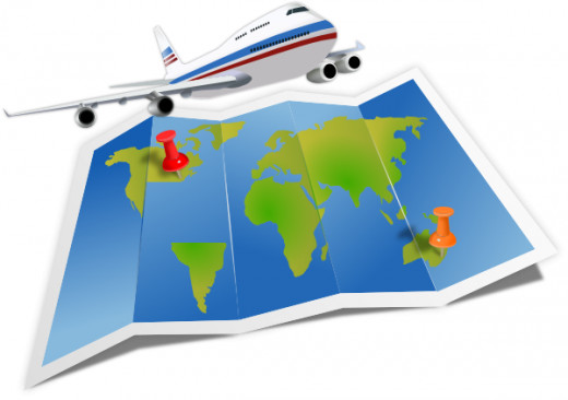 colorful clipart poster with airplane flying over world map with red push pins