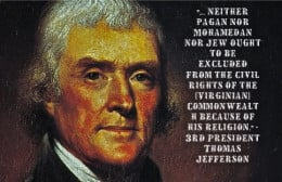 Here Jefferson mentions Muslims, that's right Jefferson would have voted for a Muslim, he's more progressive than many Republicans today