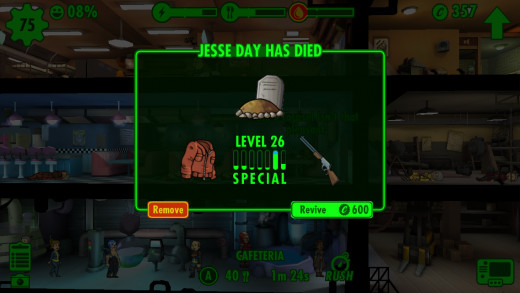 Dwellers will be available for revival up to 24 hours after their death.  The higher their level, the more caps it will cost to revive.