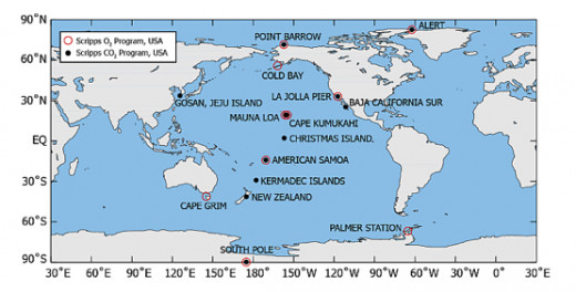 Half of the main CO2 Monitoring Observatories are located in the Ring of Fire known as the hotspot on Earth for volcanic activity.