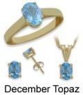 Yellow Gold Blue Topaz Birthstone Set
