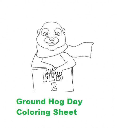 Groundhog Coloring Sheet Used as Embroidery Template