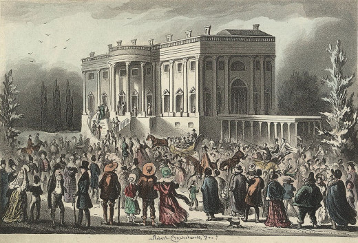 Inaugural reception of President Andrew Jackson in March 1829.