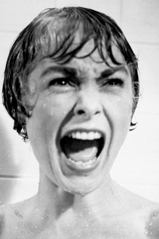 "Marion Crane (portrayed by Janet Leigh) steals a big sum of money from her job, and then faces terror in the bathroom of a creepy motel in ""Psycho."""