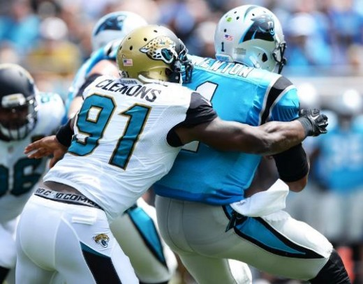Jags Chris Clemons sacks QB Cam Newton