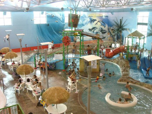 indoor water park is a fun way to loose calories.