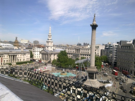 I took this picture of Trafalgar Square in 2010, what a magnificent view