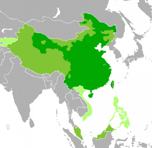 Countries that show where Mandarin is predominantly spoken or is the official language.