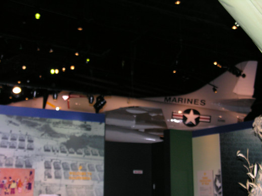 An A-4 Skyhawk in the Vietnam Gallery at the Marine Corps Museum.