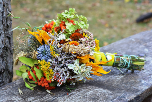 Herbs and flowers not only do they give us our precious essential oils but they make great bouquets also!