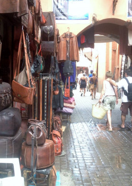 Outdoor leather shops in Marrakech.